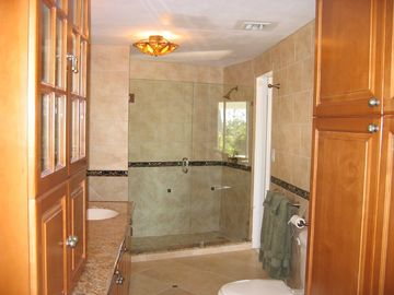 One of our new bathrooms.Granite, two person shower.