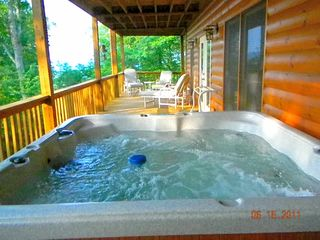 Morganton cabin photo - Hot tub on bottom deck.