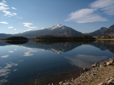 Lake Dillon, summer—the condo is located only one block from the lake.