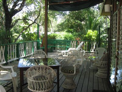 Enjoy dining and relaxing underneath the big mangotree on the large deck.