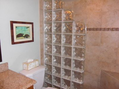 Identical New Glass Block Showers in Both Master Bath & Guest Bath