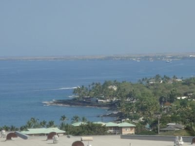 View from new Sam Choy's Restaurant, see condo with green roof at Kahalu'u Beach