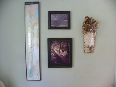 Décor reflects Hot Springs magic. Appalachian Trail map & train to Hot Springs.
