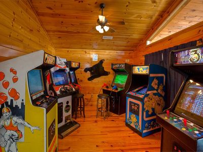 Full size arcade games on 3rd floor of 'Mountain Lake Lodge'