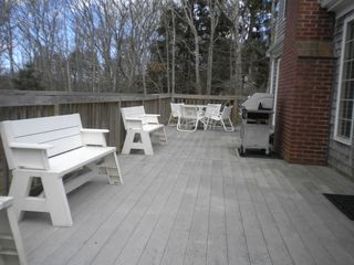 Hyannis - Hyannisport house photo - View of 50 ft deck overlooking woods- great for entertaining!