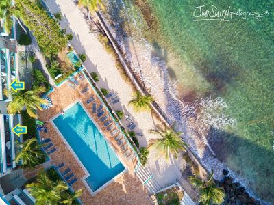 Aerial view of our amazing property and Villa 17's PRIME pool/beachside location