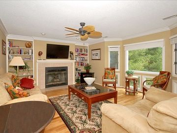 Flat Rock condo rental - Charming living room offers large screen tv, lots of windows and access to porch