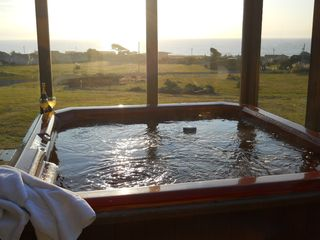 Bodega Bay house photo - Relax in large hot tub with view of the ocean