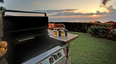 Sunset & Ocean Views from one of 2 gas barbecues.