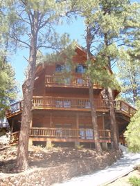Munds Park cabin rental - Majestic curb-appeal elevated above all others & 2 car garage!!