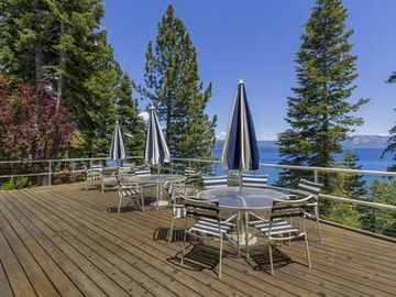 Cedar Flat estate rental - Huge lake view deck with three patio sets to entertain the gang