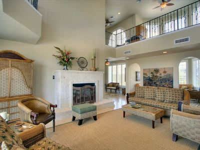 living room with very high ceilings throughout house - spacious