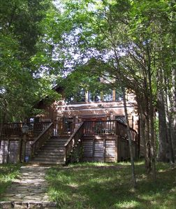 Front of cabin in the summer