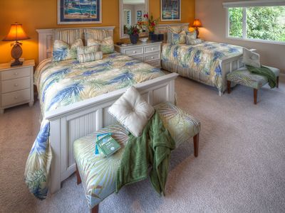 The master bedroom at Whale's Tail has been recently redesigned.