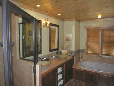 Loft Master Bedroom bath with jetted tub and large two person tile shower