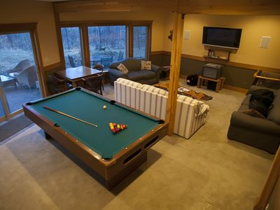 "Lower Level w/ 8' pool table, 42"" plasma w/ DVD and a queen hide-a-bed"