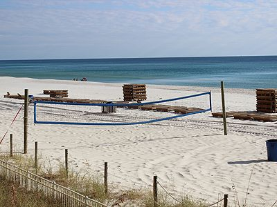 Volley ball net. Rentals of wave runners, etc are also available in peak season