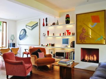 Living room with remote gas fire