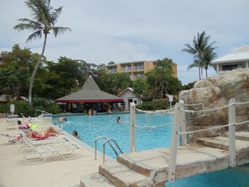 Main pool with swim up bar and restaurant