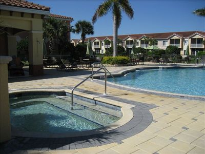 One of two pools, this one is the largest with a hot tub.
