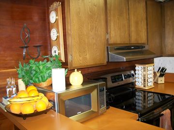 Kitchen has all new stainless steel appliances.