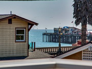 Capitola house rental - Ocean and Capitola Wharf peaks seen from the master suite's patio.