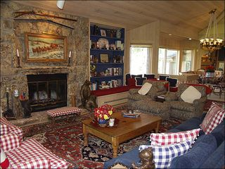 Snowmass Village house photo - Living Room with Wood Burning Fireplace