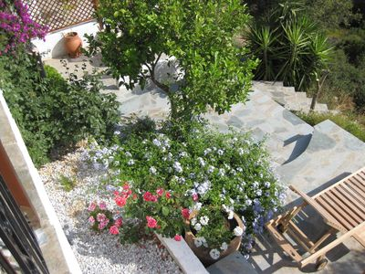 Alonissos villa rental - Lower garden terraces