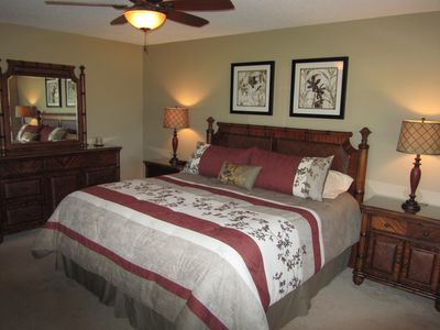 Newly redecorated master bedroom with King bed