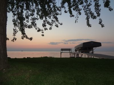 Lake Winnebago house rental - Pier and Lake Winnebago at Sunset