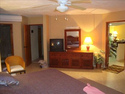 MBR has quality furniture. Spacious room. Ceiling fan over bed. New A/C units.