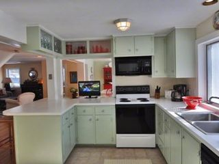 Vineyard Haven house photo - Bright Kitchen Has Breakfast Bar That Seats 3