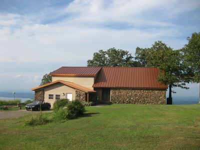 Summit House one acre yard with Lake Dardanelle view. Park on asphalt/beside.