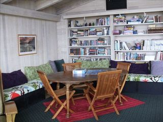 Yachats house photo - Another view of the Gathering Room, LCD TV, DVD, game table reading area