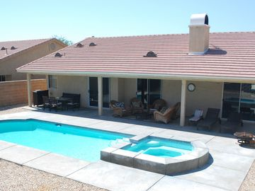 Desert Hot Springs house rental - Covered patio, overlooking Pool and Spa.