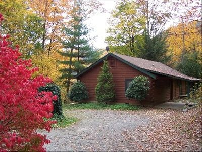 Maggie Valley home Side View in Fall. GREAT view/hot tub/play ground/Fire pit