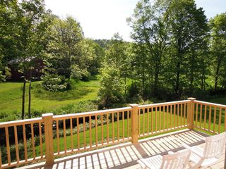 Woodstock house photo - Large Deck overlooking brook and fields
