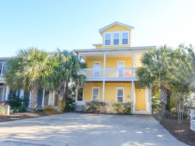 Seagrove Beach house rental - Front of house with wrap around balconies. Parking for three cars.