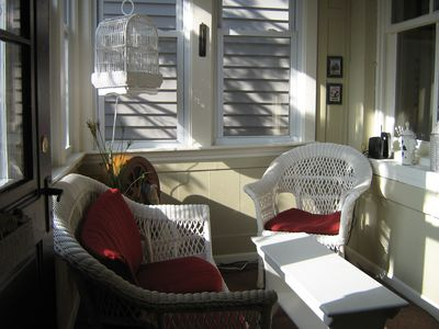 Have a morning cup of coffee in the comfortable sunroom off the kitchen.
