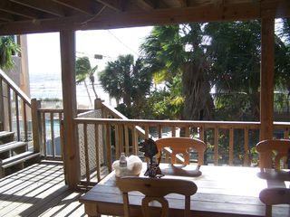 Covered deck elevated 17 feet from ground floor. - Fort Myers Beach house vacation rental photo