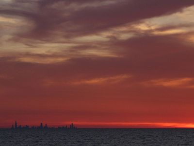Sunset view of Chicago ( approx 40 miles if you were to boat, 60 mi. drive)