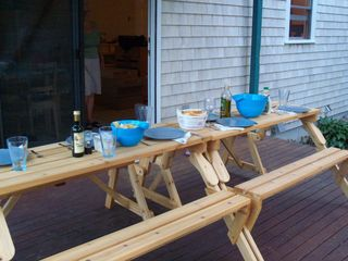 East Falmouth house photo - Two picnic benches on rear deck - loads of room for all.