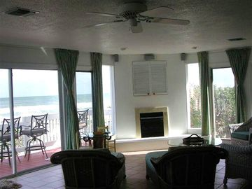 Open views.. fireplace.. media center