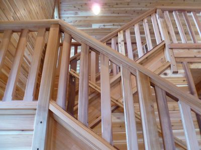 Stairway to the loft. Cabin B has 3 bedrooms 1 1/2 bath. Laundry, full kitchen.