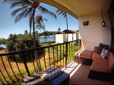 Our Lanai. Perfect for a relaxing time, have a drink and watch the sunset.