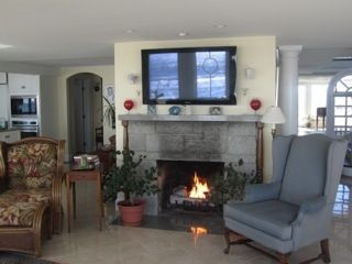 Living room area and gas fireplace