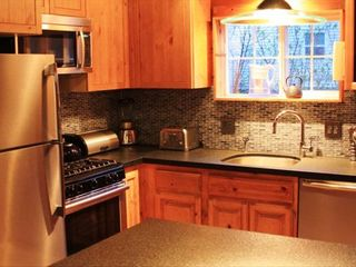 Stateline cabin photo - Kitchen with new stainless steel appliances & leather brushed granite counter