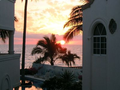 sunset overlooking pool and beach- from both patios