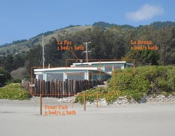 The 3 units at Stinson on the Beach. Rent one or more for a memorable stay.