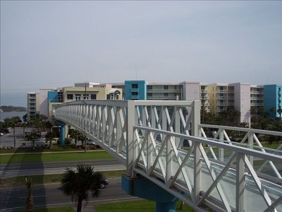 Convenient skybridge gets you over to Destin West Bayside